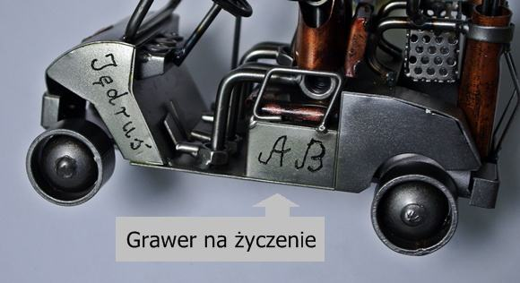 metalowa figurka model z grawerem