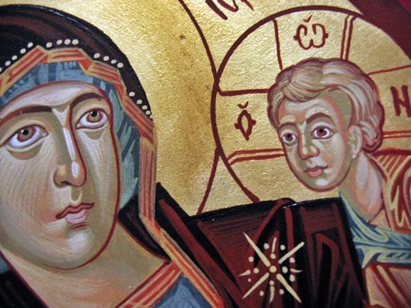 Ikona na desce malowana Bogurodzica Przewodniczka - Hodegetria