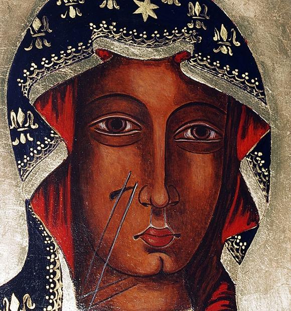 Na prezent ikona malowana matka boża Częstochowska