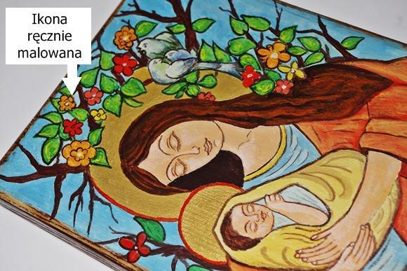 ikona na chrzest dziecka Matka Boska Miłująca