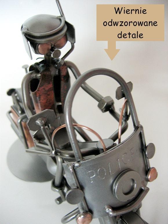 Figurka policjanta na motorze - Polskie rękodzieło