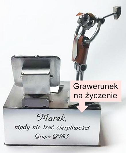 Figurka z grawerem na prezent zdenerwowany informatyk