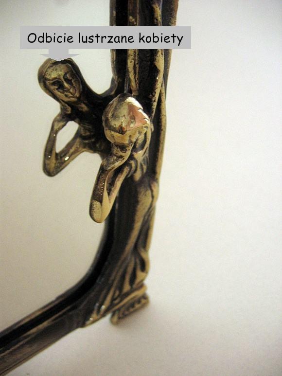 Mosiężna ramka lusterka secesja motyw kobieta
