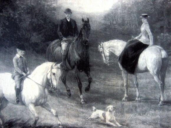 Obraz polowanie rodziny na koniach z pieskiem