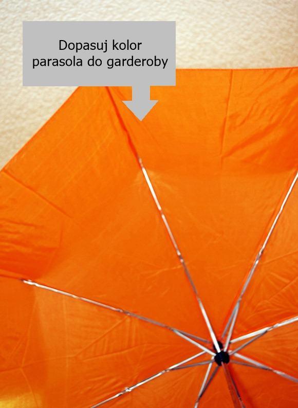Składany damski pomarańczowy parasol do torebki