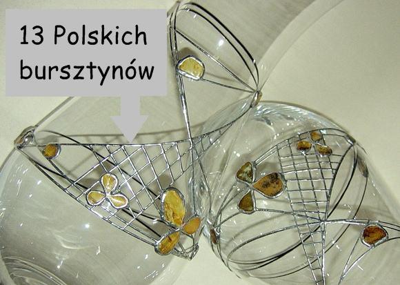 Polski wazon zdobiony bursztynem rękodzieło