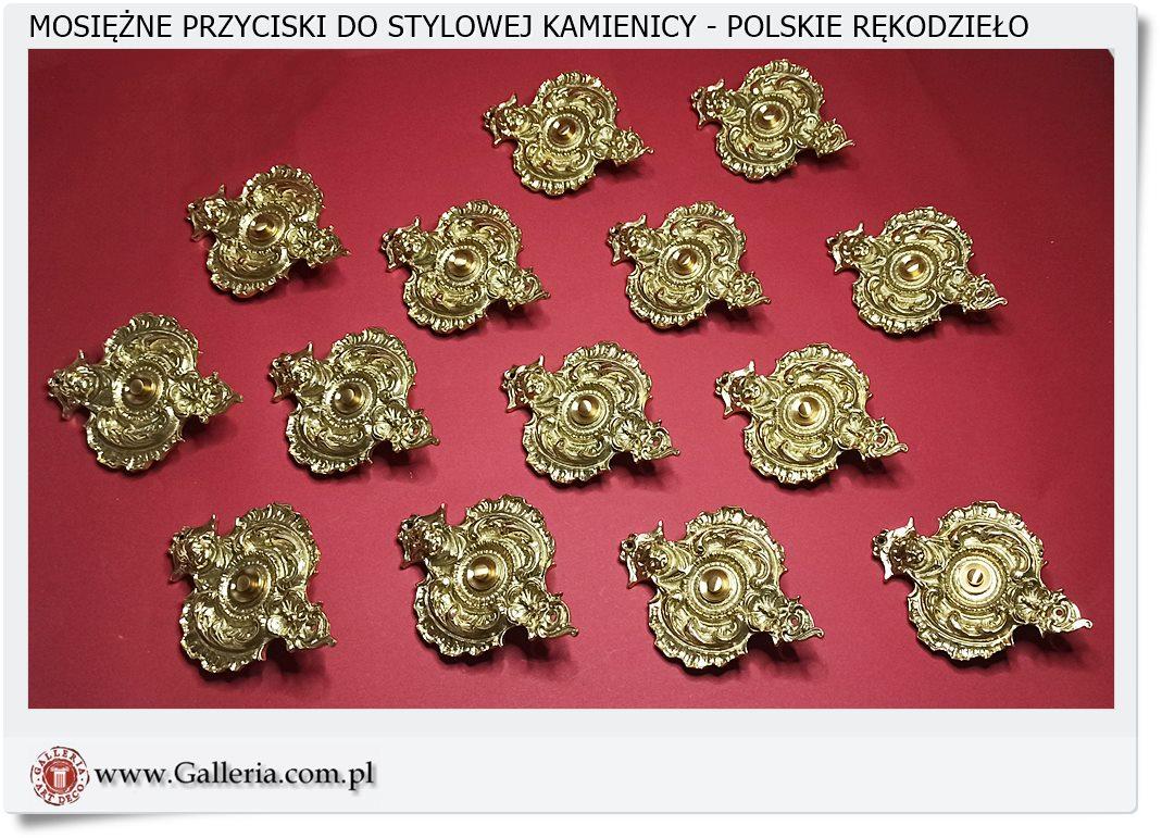 Przyciski dzwonkowe do kamienicy w kolorze złota